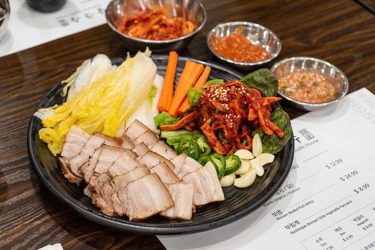 Bossam at Hyesung Noodle House with accompaniments.