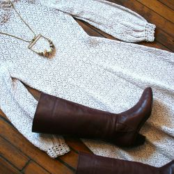 """<strong>Trend 1: Crochet.</strong> It's bright and airy and oh-so-springlike. But what to wear underneath? This look pairs the """"Myra"""" Necklace, $92, with the '60s Crochet Dress, $122, and brown knee-high boots, $52.  <strong>Karyn Dethrow</strong>: """"If"""