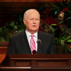 Elder Anthony D. Perkins, a General Authority Seventy, speaks during the Sunday afternoon session of the 191st Semiannual General Conference of The Church of Jesus Christ of Latter-day Saints on Sunday, Oct. 3, 2021, in the Conference Center in Salt Lake City.