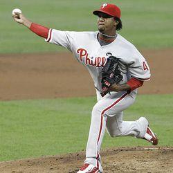 Philadelphia Phillies starting pitcher Pedro Martinez delivers.