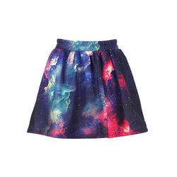 """Colorful Clouds Print Elastic Skirt, $37.03 at <a href=""""http://www.romwe.com/colorful-clouds-print-elastic-skirt-p-47794.html"""">Romwe</a>"""