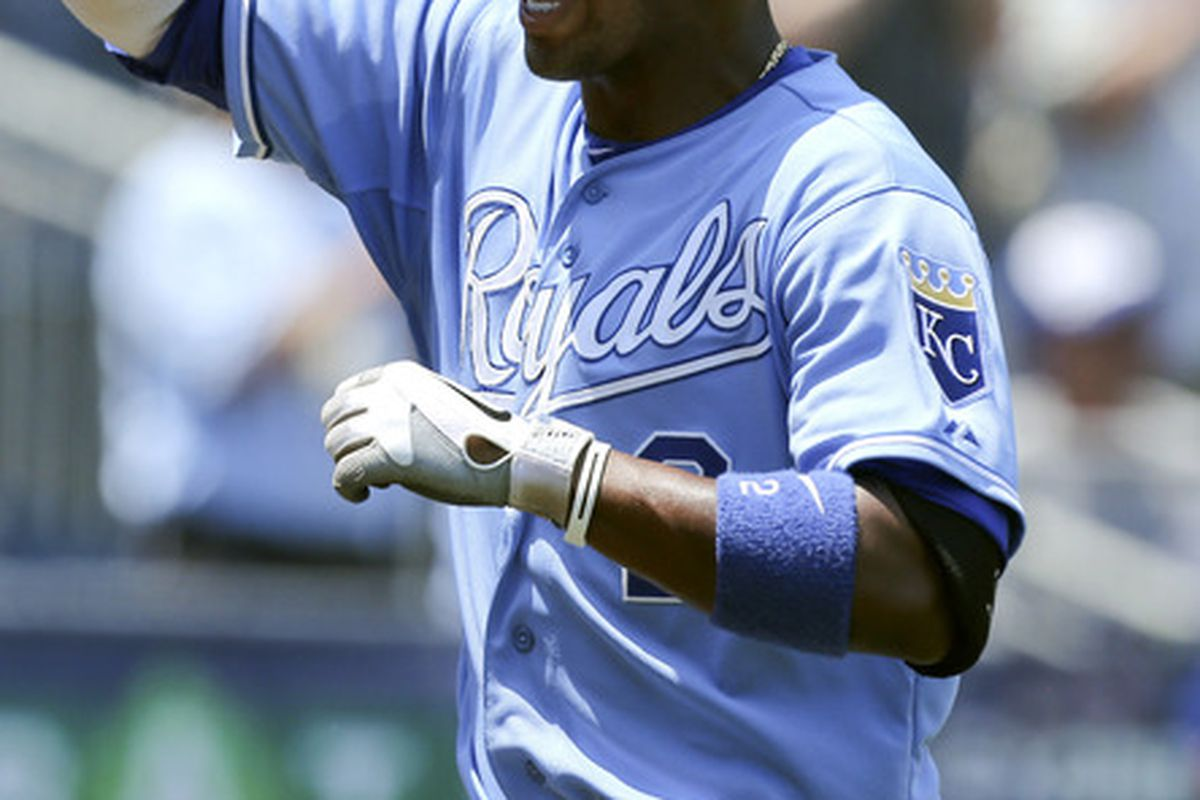KANSAS CITY, MO - JUNE 27:  Alcides Escobar #2 of the Kansas City Royals celebrates his home run against the Tampa Bay Rays in the third inning at Kauffman Stadium on June 27, 2012 in Kansas City, Missouri. (Photo by Ed Zurga/Getty Images)