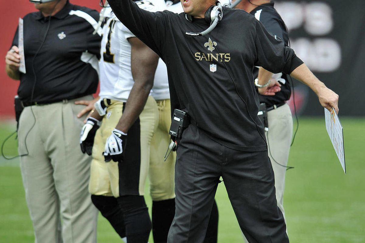 FILE - This n ov. 22, 2009 file photo shows New Orleans Saints head coach Sean Payton yelling to his players during a timeout of an NFL game against the Tampa Bay Buccaneers,  in Tampa, Fla. NFL Commissioner Roger Goodell has rejected the appeals of coach