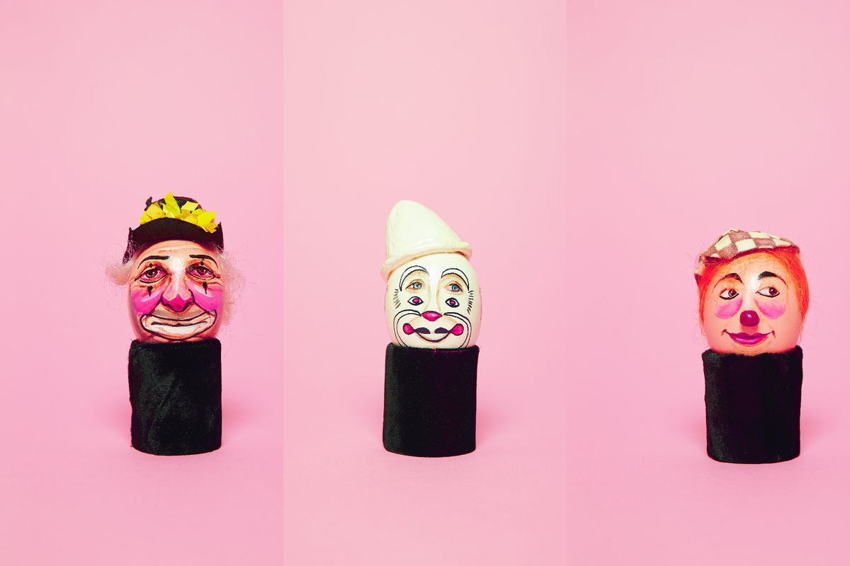 Clown eggs against a pink background from The Clown Egg Register by Luke Stephenson and Helen Champion