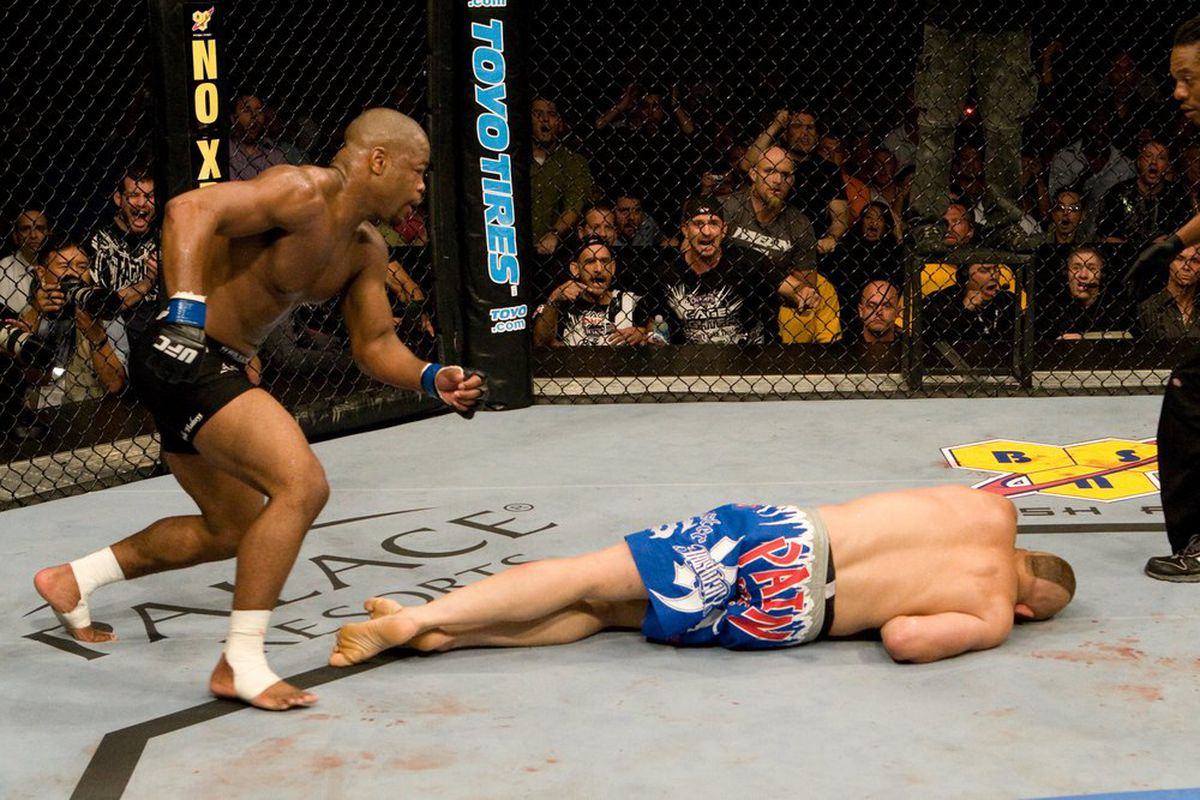 Rashad Evans and a Finished Chuck Liddell at UFC 88. Photo by Josh Hedges, Zuffa LLC, by Getty Images.