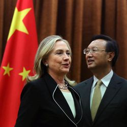 U.S. Secretary of State Hillary Rodham Clinton, left, meets with Chinese Foreign Minister Yang Jiechi, at the Ministry of Foreign Affairs in Beijing Tuesday, Sept. 4, 2012.  Clinton is in Beijing to press Chinese authorities to agree to peacefully resolve disputes with their smaller neighbors over competing territorial claims in the South China Sea.