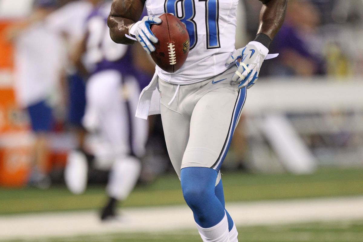 August 17, 2012; Baltimore, MD, USA; Detroit Lions wide receiver Calvin Johnson (81) prior to their preseason game against the Baltimore Ravens at M&T Bank Stadium. Mandatory Credit: Mitch Stringer-US PRESSWIRE