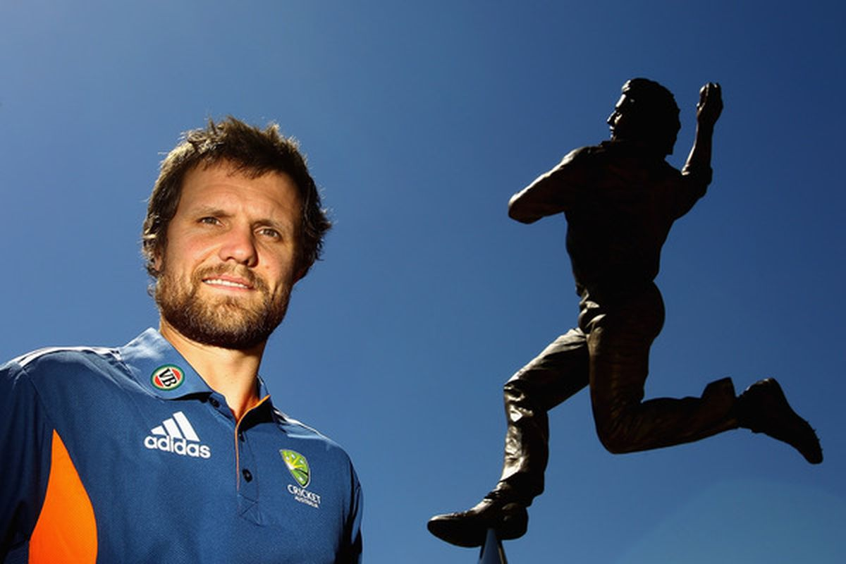 MELBOURNE, AUSTRALIA - MARCH 07:  Fast bowler Dirk Nannes poses at Melbourne Cricket Ground on March 7, 2011 in Melbourne, Australia. <em>(silly caption. That's not Dirk.)</em>  (Photo by Quinn Rooney/Getty Images)