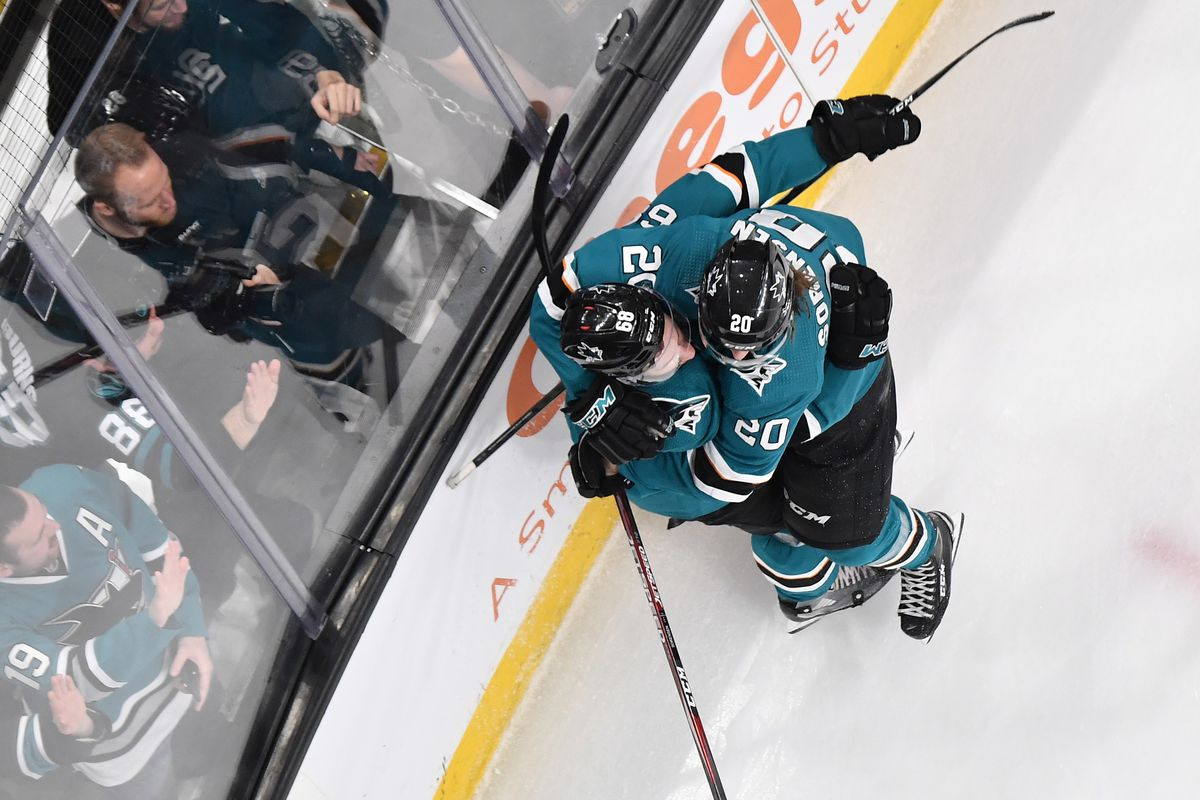 Melker Karlsson #68 and Marcus Sorensen #20 of the San Jose Sharks celebrates after scoring against the Colorado Avalanche at SAP Center on March 8, 2020 in San Jose, California.