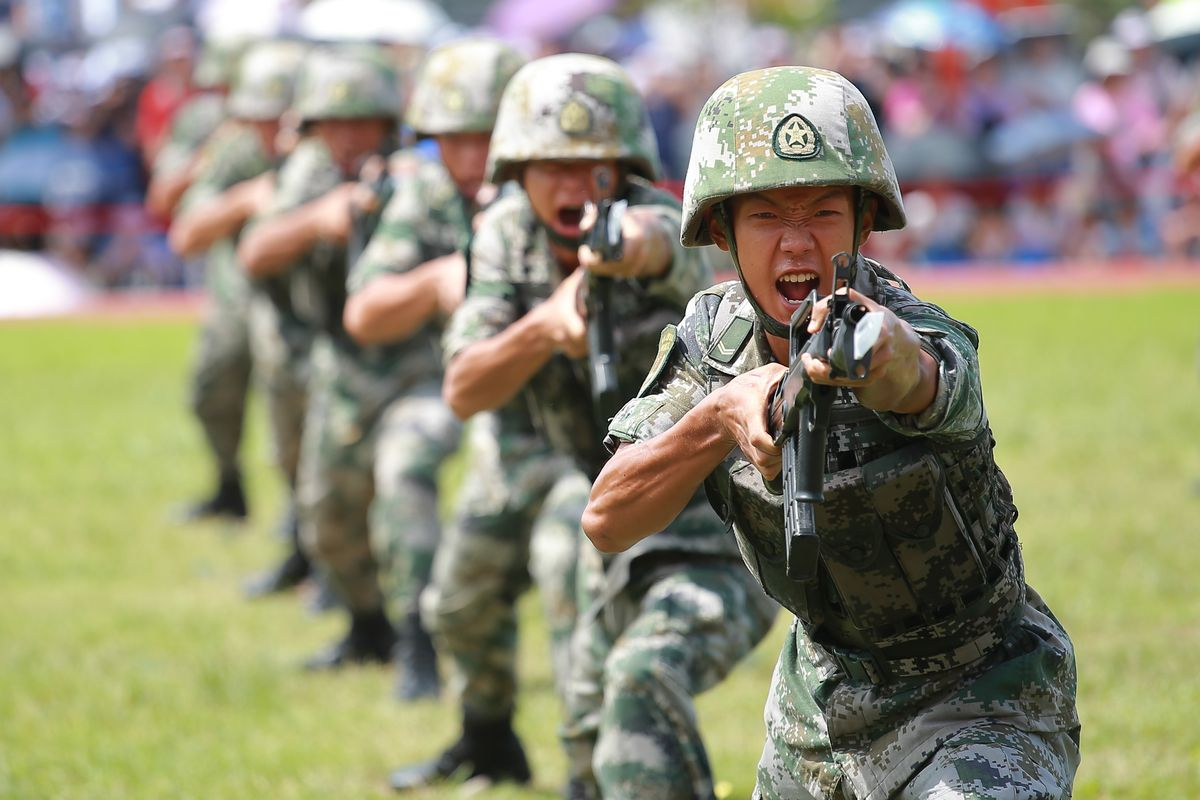 Soldiers of the People's Liberation Army perform drills during a demonstration at the Ngong Shuen Chau Barracks on June 30, 2019 in Hong Kong.