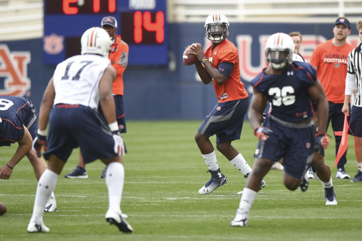 Johnson looks to pass during Auburn's 10 March Spring Practice. That's Pettway running out in blue (#36)