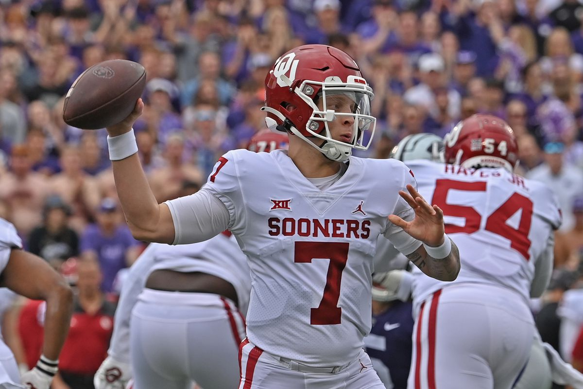 Quarterback Spencer Rattler of the Oklahoma Sooners throws a pass during the first half against the Kansas State Wildcats at Bill Snyder Family Football Stadium on October 2, 2021 in Manhattan, Kansas.