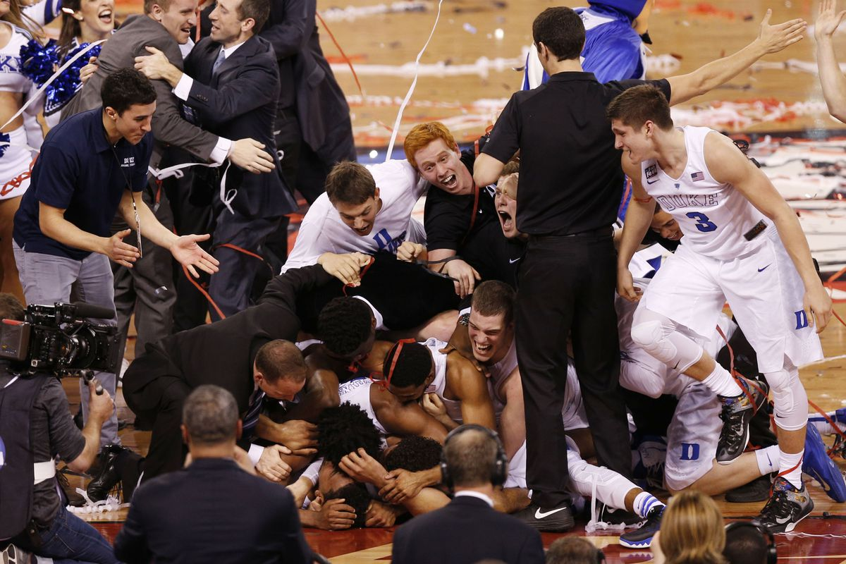 Duke celebrates right after winning the 2015 national title.