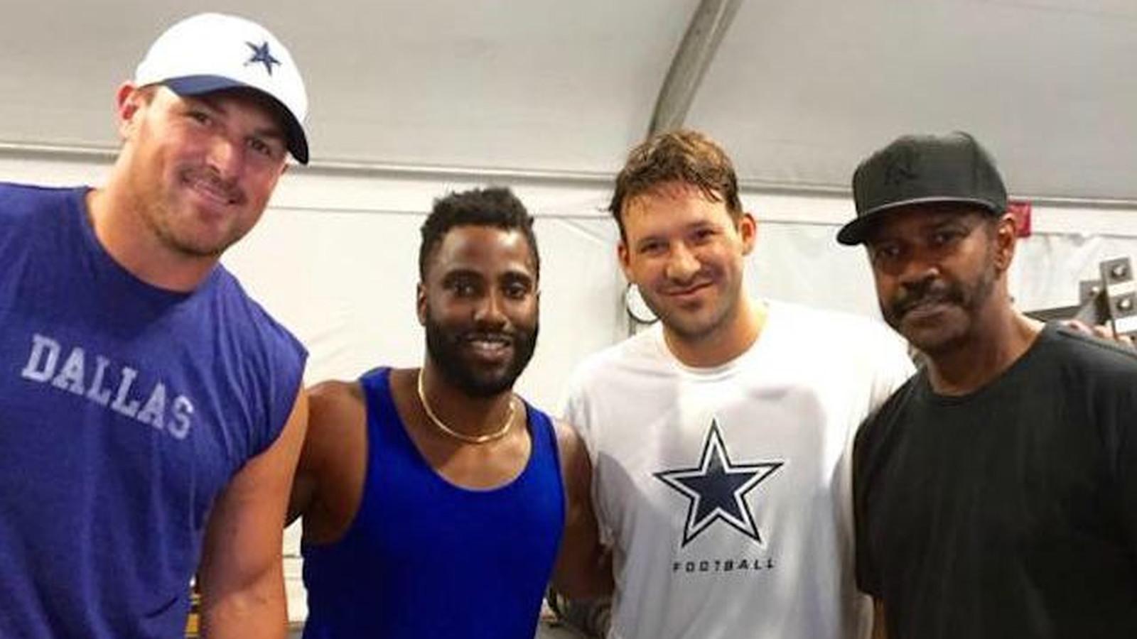 Denzel Washington Attends Dallas Cowboys Practice With His