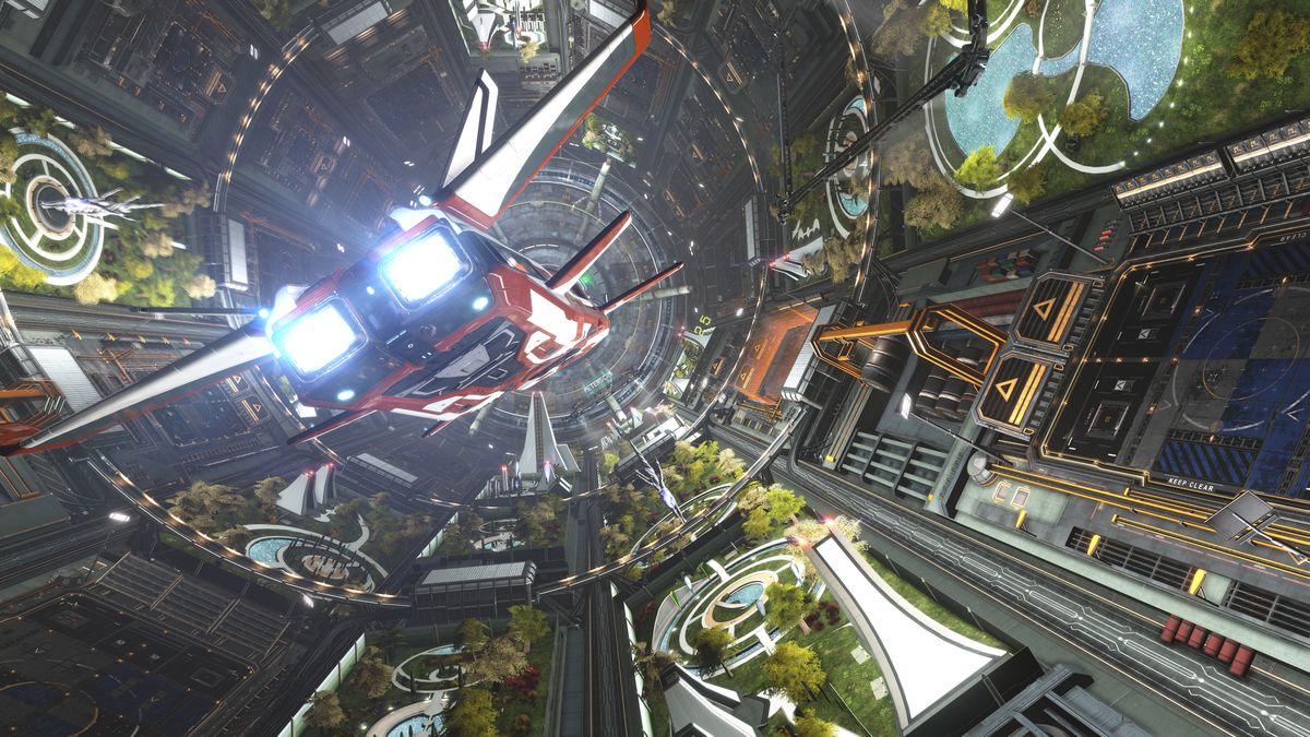 A white and red starship coming in for a landing inside a lush, green space station.