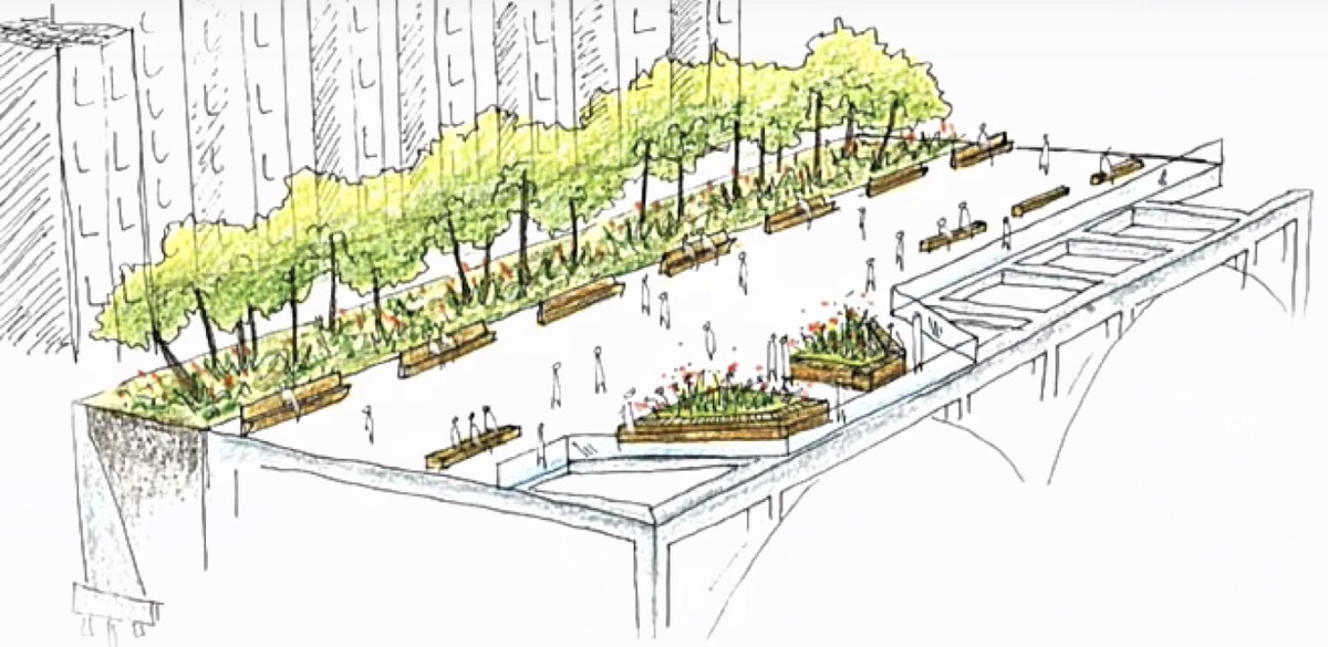 A rough sketch of what a renovated Brooklyn Heights Promenade could look like. The widened path boasts more trees, greenery, and benches.