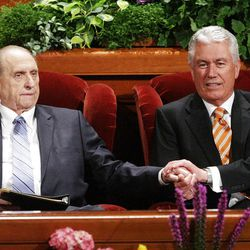 President Thomas S. Monson greets President Dieter Uchtdorf  prior to  the 182nd Annual General Conference for The Church of Jesus Christ of Latter-day Saints in Salt Lake City  Sunday, April 1, 2012.
