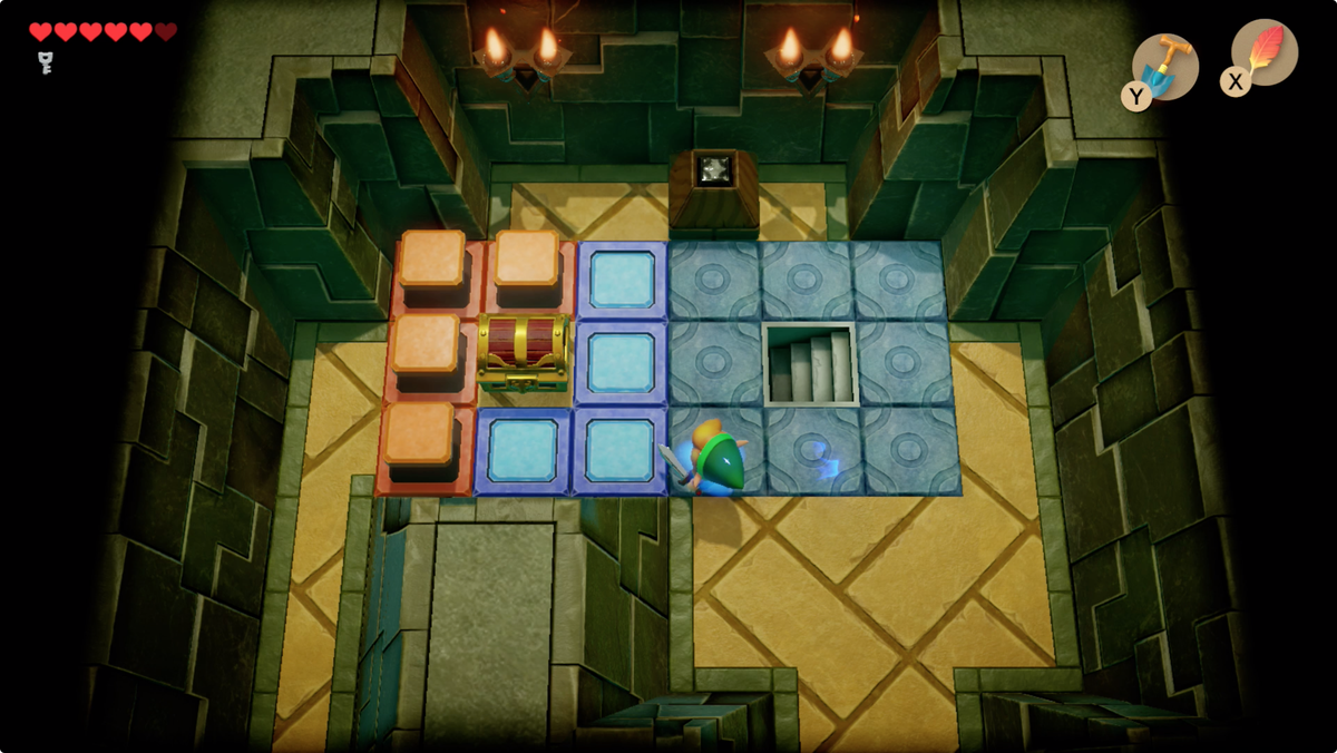 Link's Awakening Key Cavern use the crystal to control the orange and blue tiles above