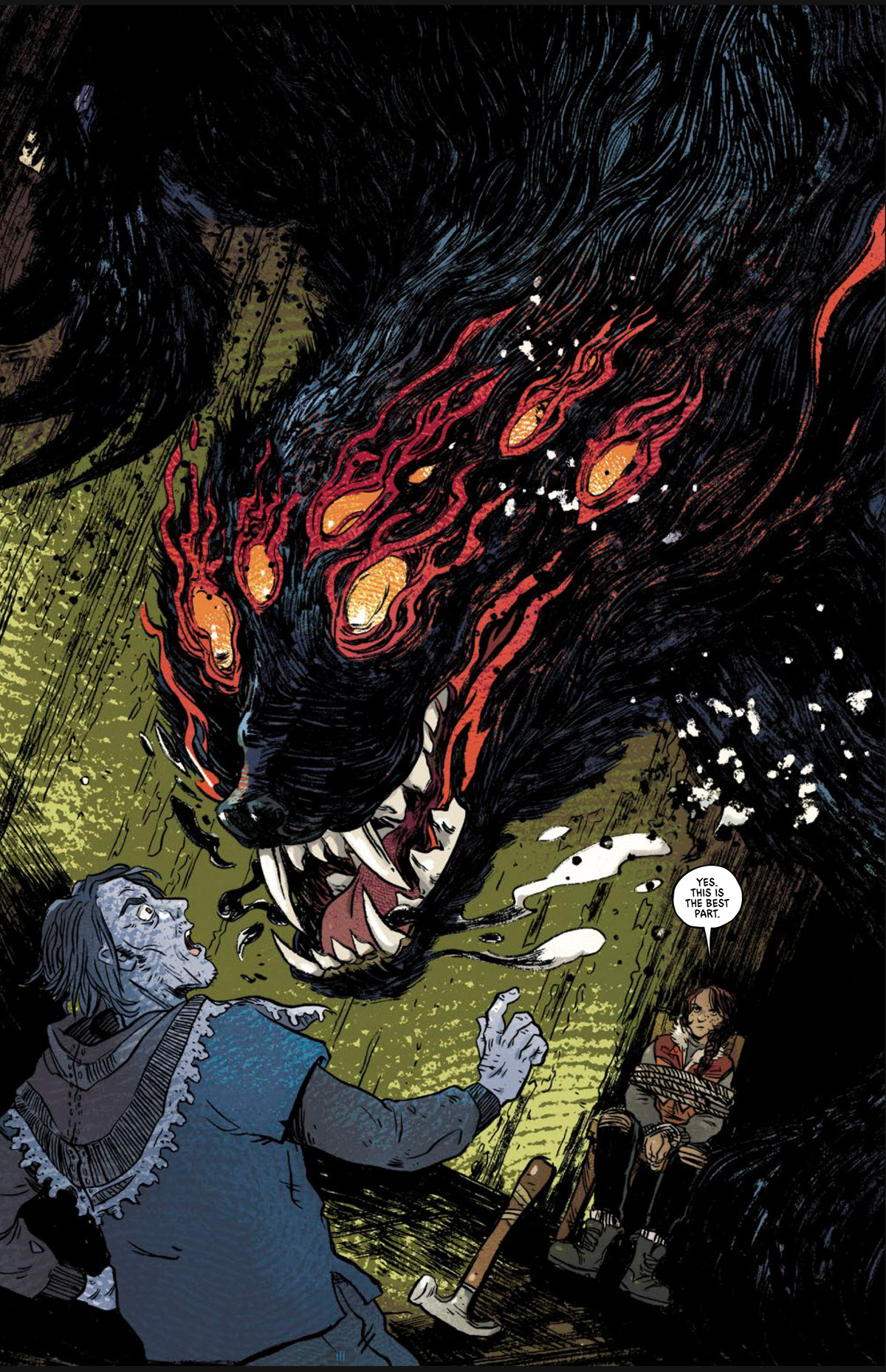 """A hairy, fanged shadow monster with at least six eyes leaps upon a haggard man, as a girl tied to a chair says """"Yes. This is the best part."""" in I Walk With Monsters, Vault Comics (2020)."""