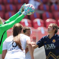 Sky Blue FC goalkeeper Kailen Sheridan (1) grabs the ball from over Utah Royals FC forward Arielle Ship (17) as the Royals and Sky Blue play in the National Women's Soccer League Challenge Cup at Zions Bank stadium in Herriman on Saturday, July 4, 2020. Utah won 1-0.