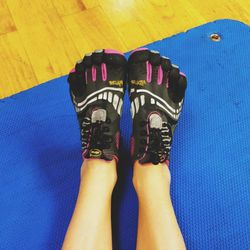 """Yes, I know these shoes look crazy, but I LOVE my <b><a href=""""http://www.vibramfivefingers.com/products/Five-Fingers-KMD-Sport-LS-Womans.htm"""">Vibrams</a></b>! Barefoot training is so beneficial for the body, and once you make the switch you won't want to"""