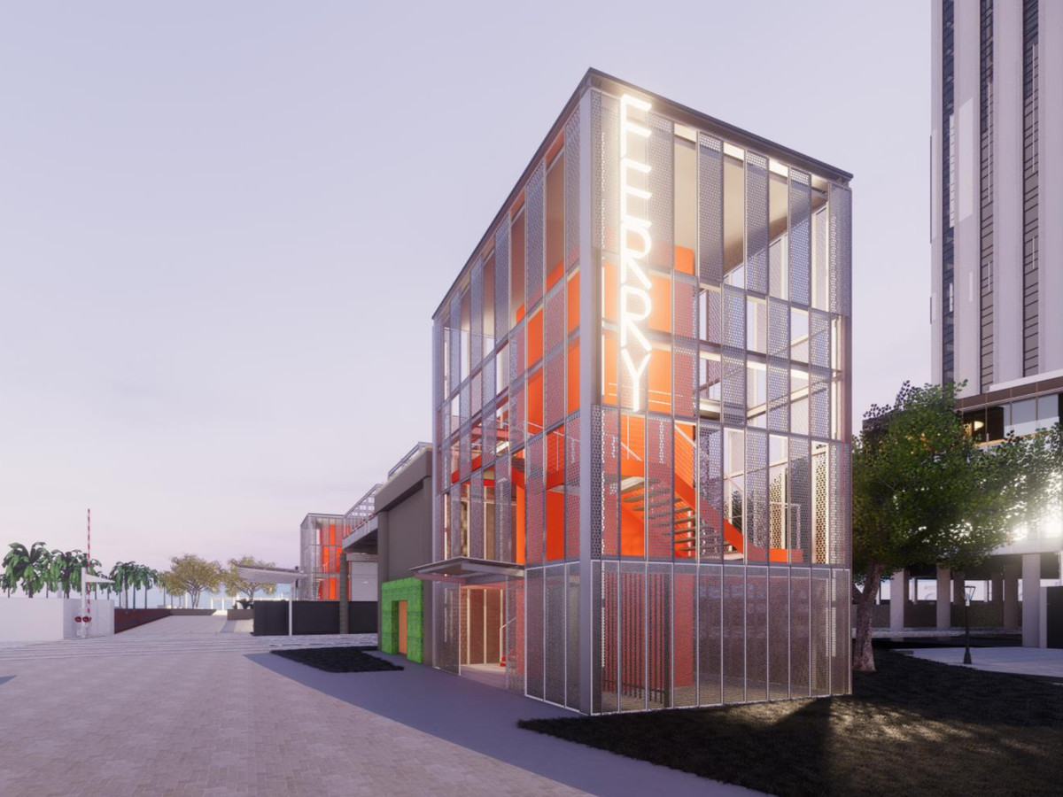 """A rendering shows a glass terminus and staircase for a ferry landing with the word """"ferry"""" displayed vertically in yellow lights on the side."""