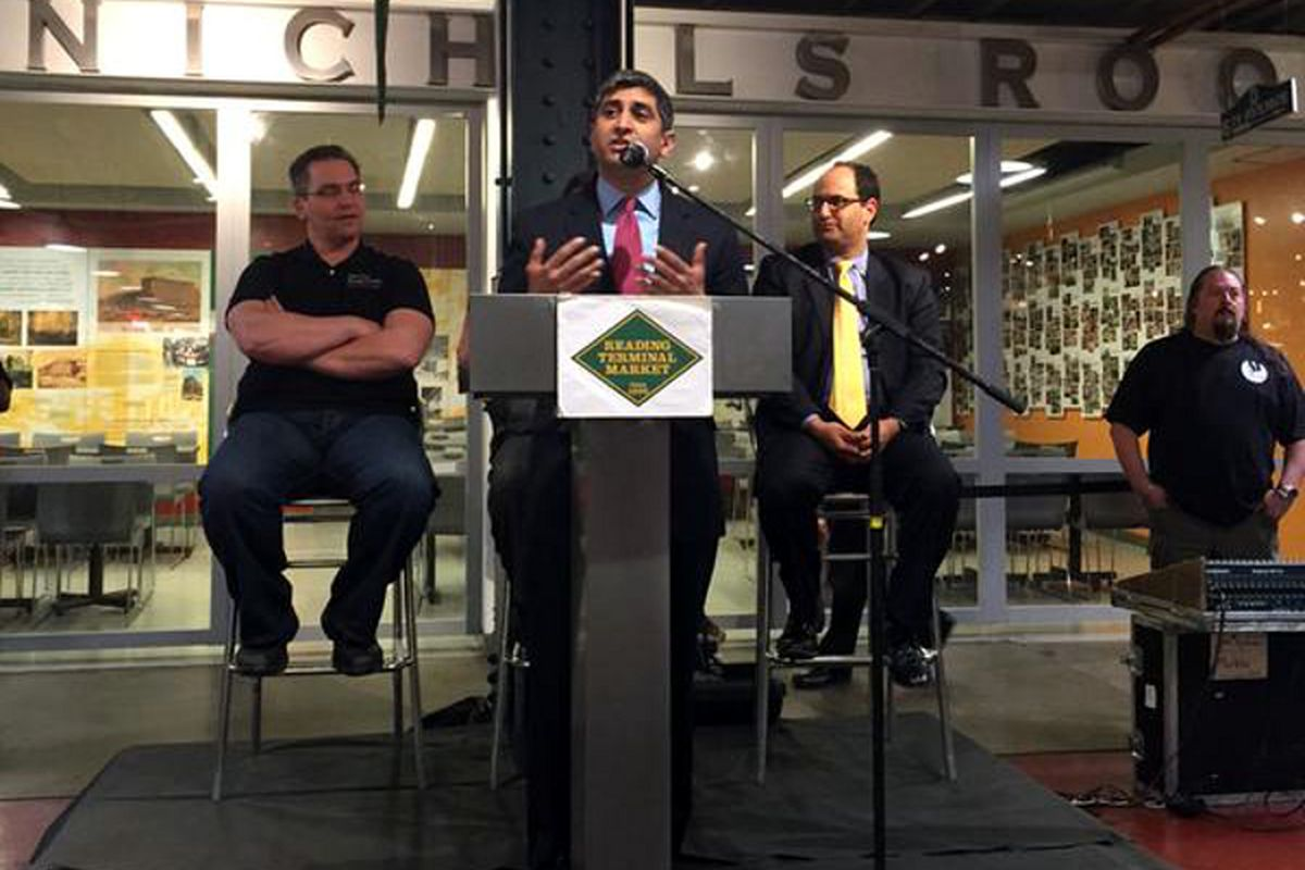 Gupta speaks at today's press conference at Reading Terminal.