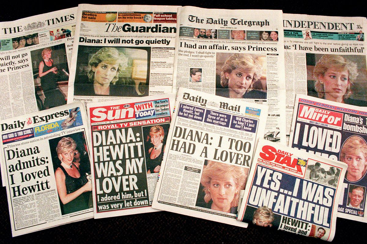 In this Nov. 21, 1995, file photo, a selection of front pages of most of Britain's national newspapers showing their reaction to Princess Diana's television interview with BBC journalist Martin Bashir.