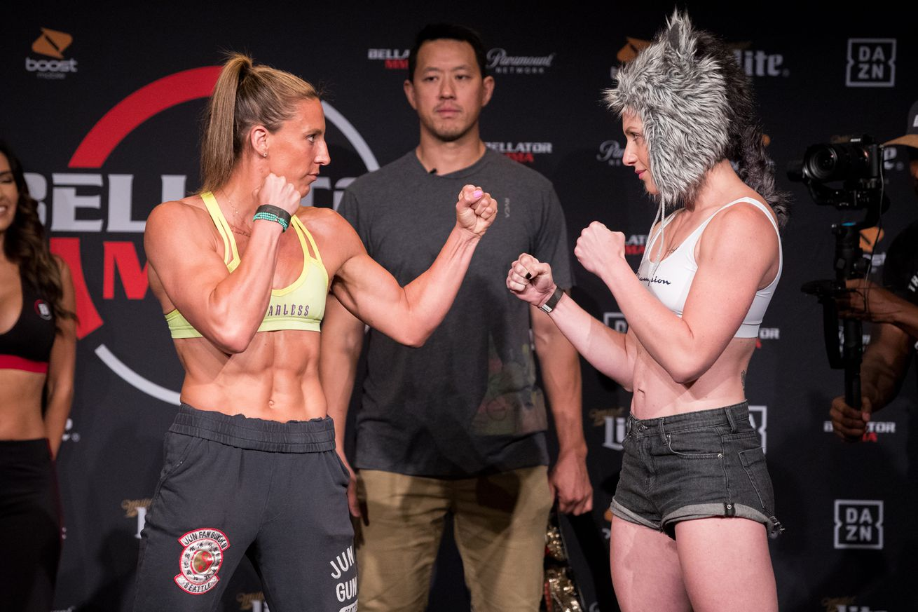 Julia Budd and Olga Rubin face off ahead of their featherweight championship main event bout at Bellator 224 on Friday