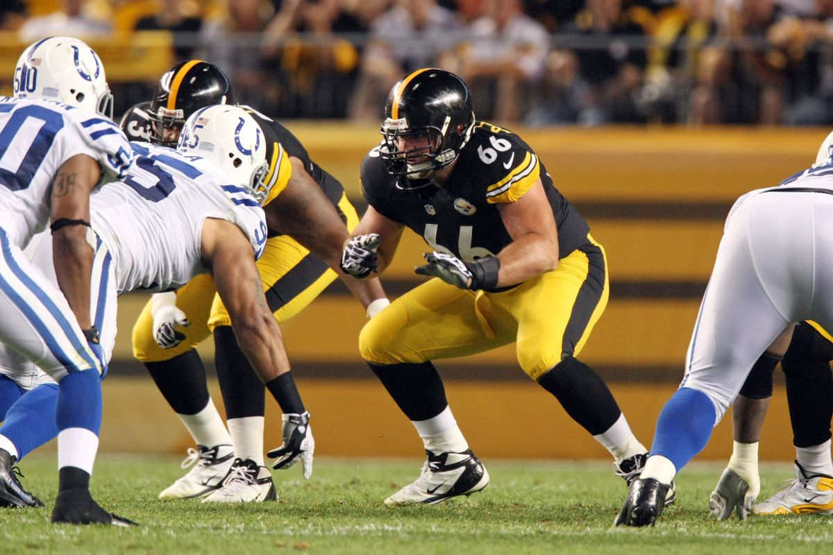Aug 19, 2012; Pittsburgh , PA, USA; Pittsburgh Steelers guard David DeCastro (66) blocks against the Indianapolis Colts during the first half of the game at Heinz Field. Mandatory Credit: Jason Bridge-US PRESSWIRE