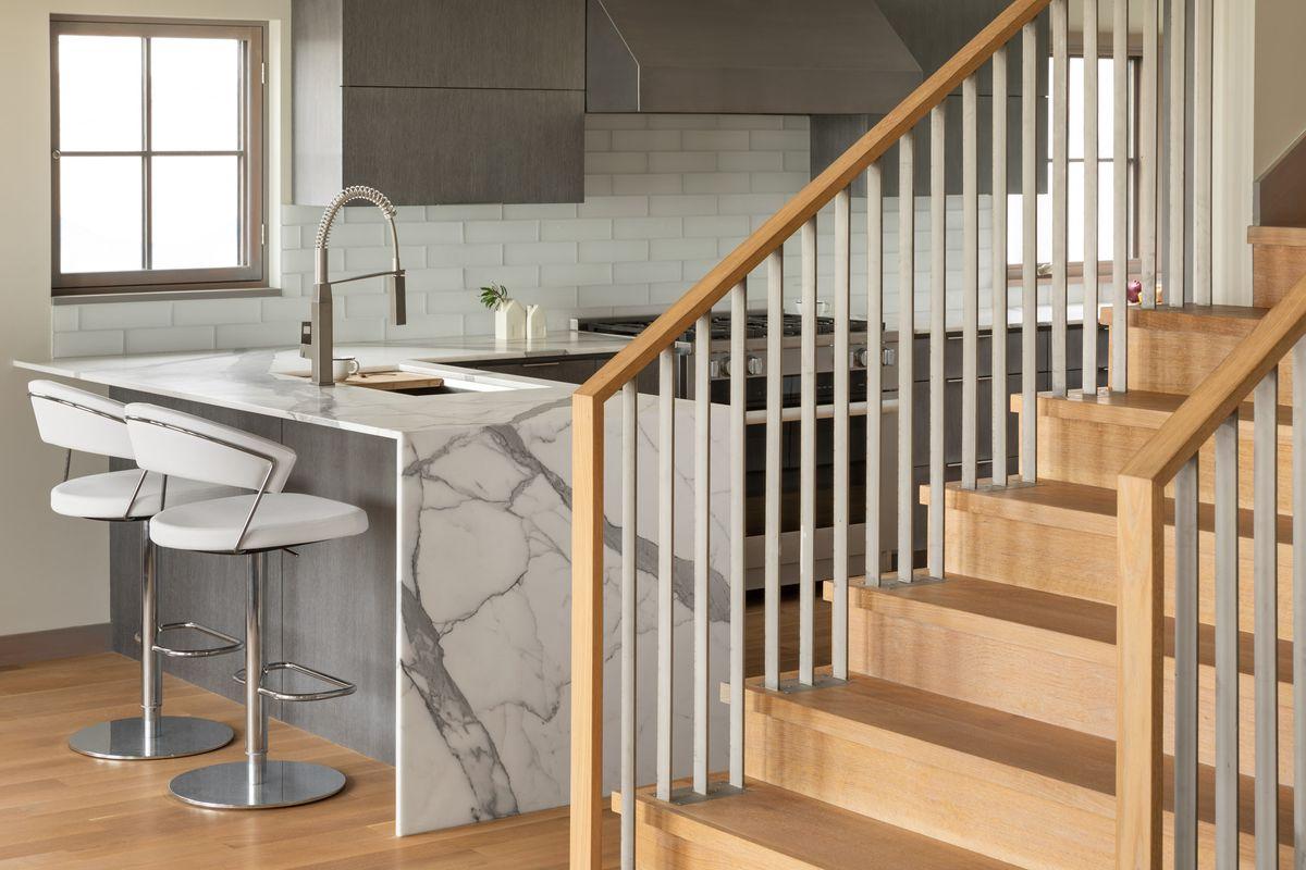 Staircase leading to kitchen