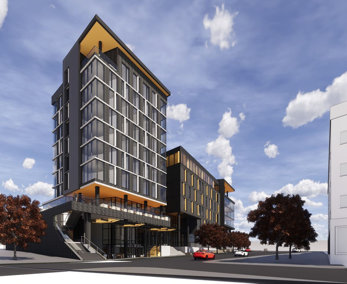 A previous rendering of the development shows how the Boulevard side would look, with the hotel towering over the offices.