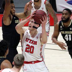 Utah Utes forward Mikael Jantunen shoots during a men's basketball game against Colorado at the Huntsman Center in Salt Lake City on Monday, Jan. 11, 2021.