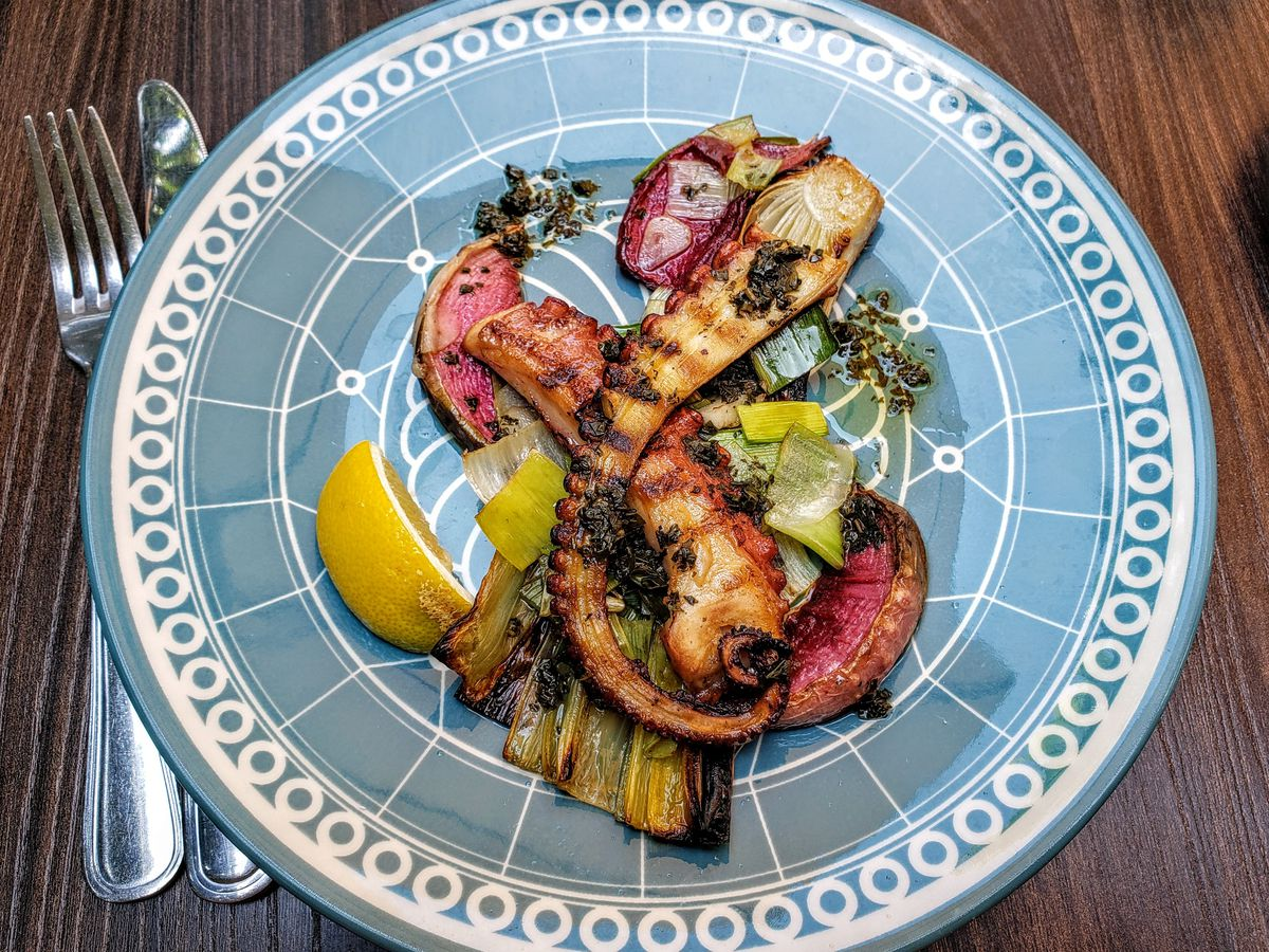 Grilled octopus at Cinque Terre West Osteria in Pacific Palisades.