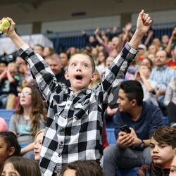 Hayden Tanner, 10, cheers as the Salt Lake City Stars play the Los Angeles D-Fenders at the Lifetime Activities Center in Taylorsville on Wednesday, Feb. 08, 2017.