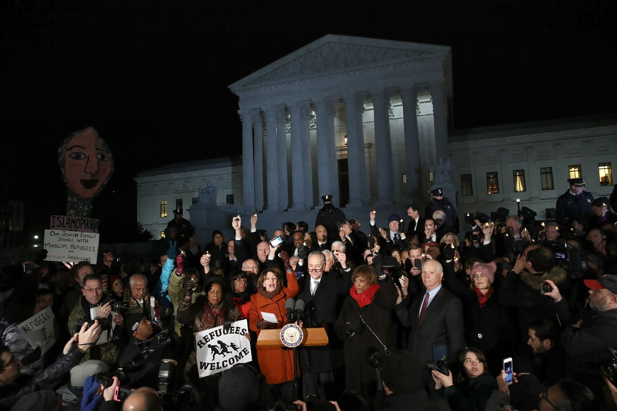 Democratic Leaders, Immigrants Call For End To Travel Ban At Supreme Court