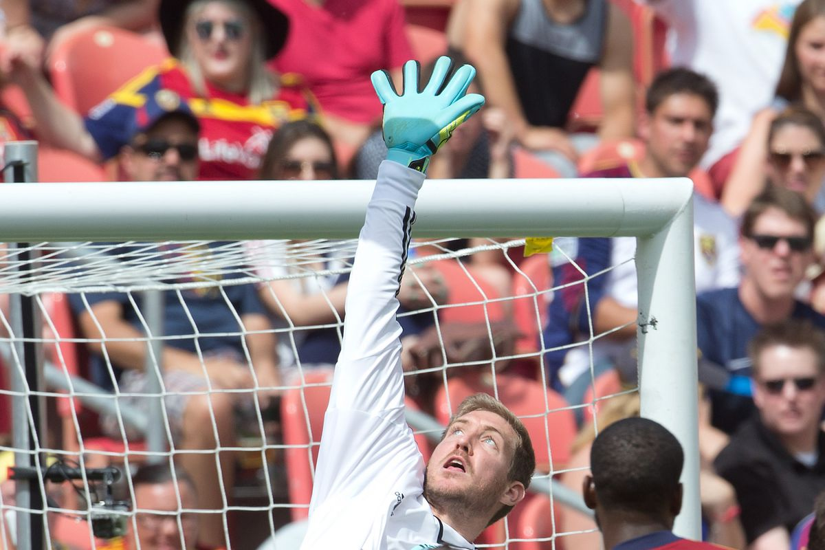 Irwin making a save against RSL in Leg One of the Rocky Mountain Cup in Sandy, UT