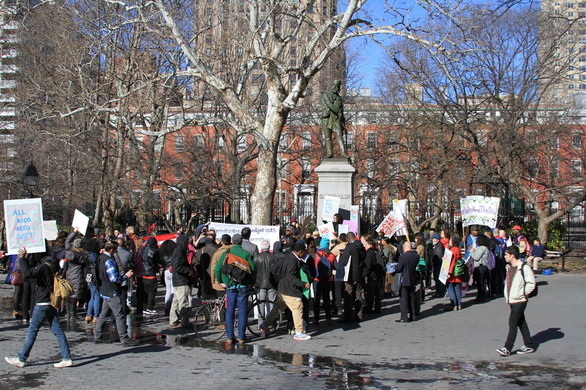 City-As-School students and educators marched to Washington Square Park Thursday.