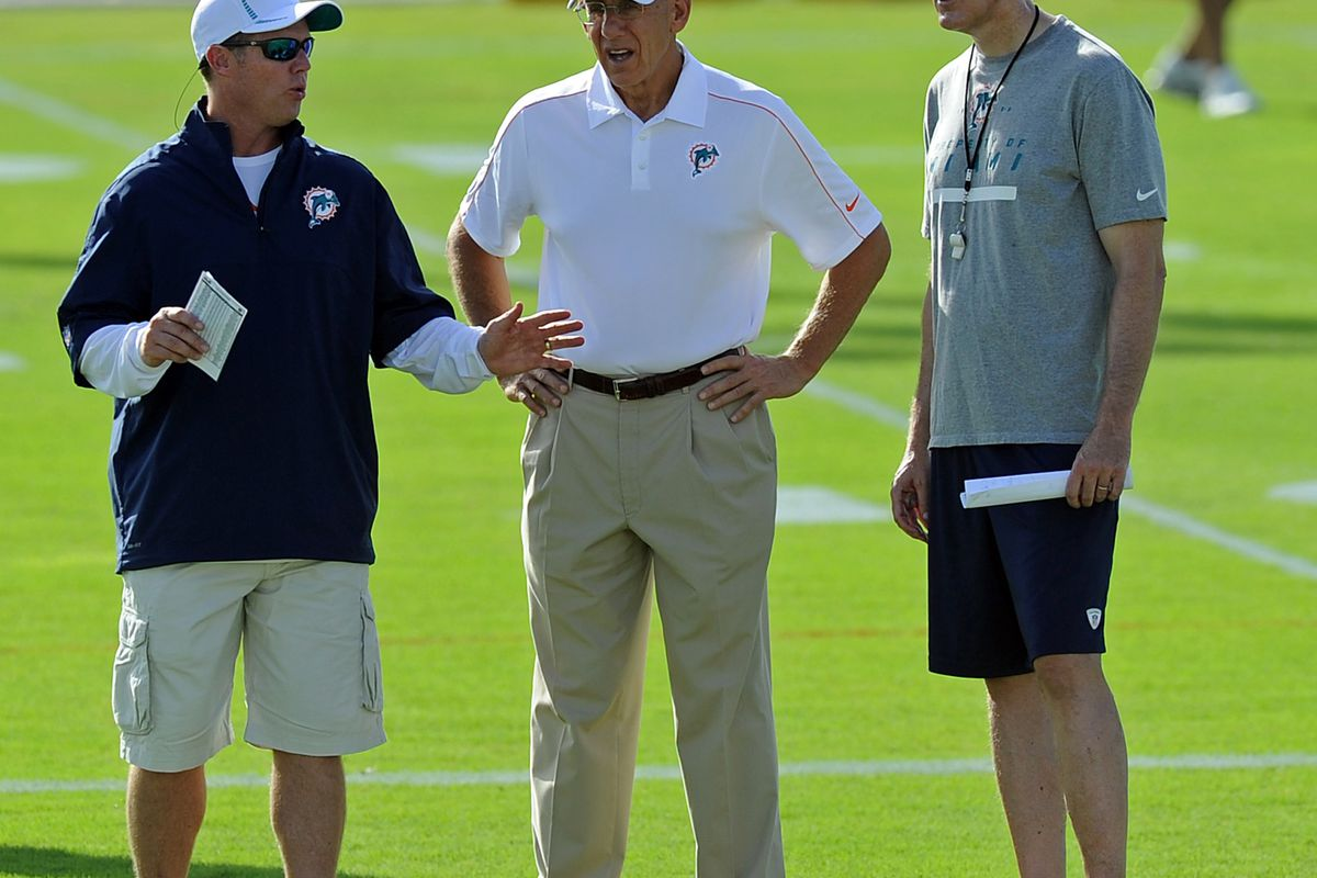 The August approval ratings don't look good for Miami Dolphins general manager Jeff Ireland (left) nor owner Stephen Ross (center). Head coach Joe Philbin (right) is still holding above 80%.