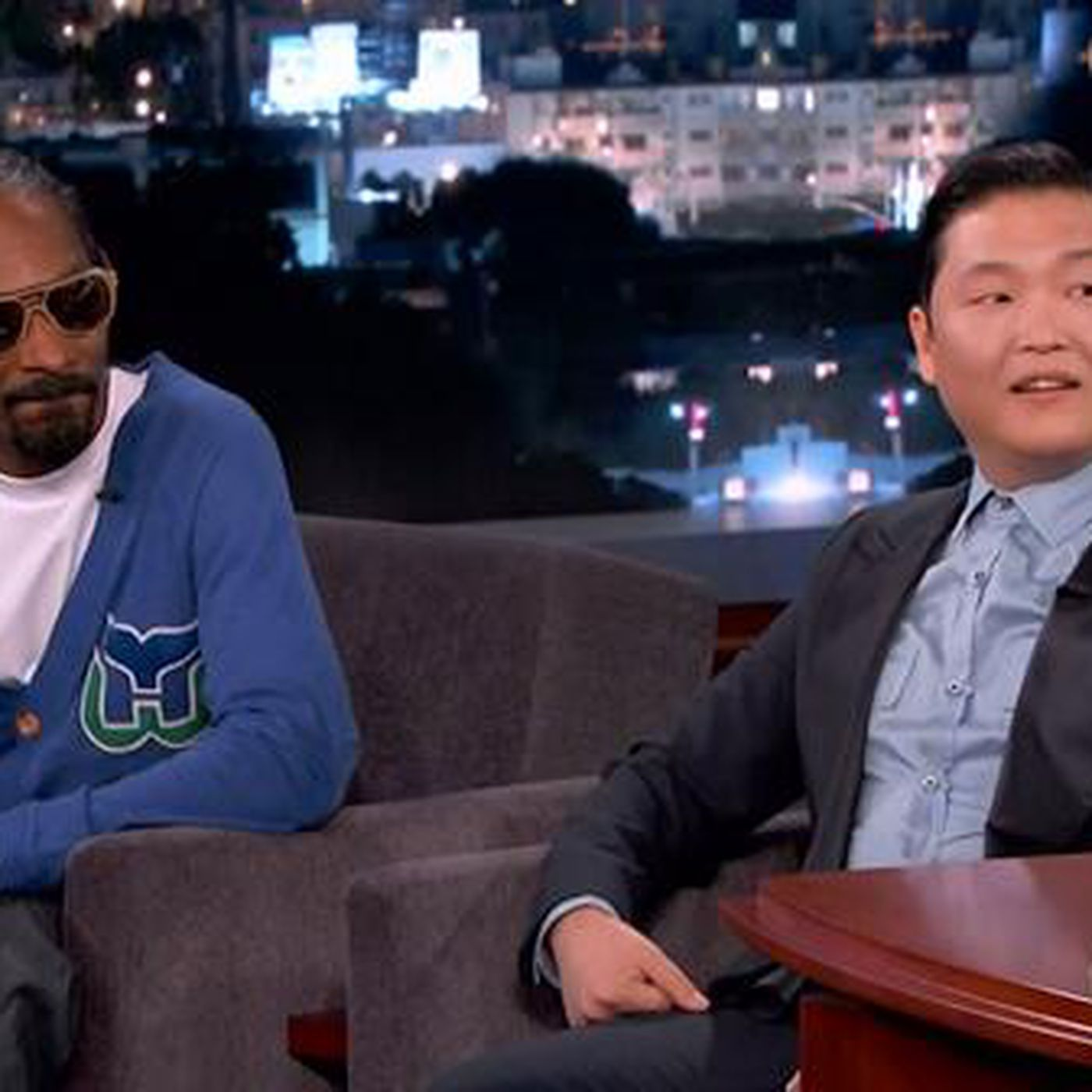 big sale dfc42 d9740 Watch Snoop Dogg (in a Hartford Whalers sweater) rap with ...
