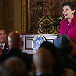Rep. Patrice Arent, D-Millcreek, speaks during a ceremony to celebrate the signing of a concurrent resolution affirming Utah's support for the religious and civil liberties of immigrants and refugees during a ceremony at the Capitol in Salt Lake City on Monday, April 17, 2017.