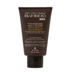 """Thicken your hair and protect your scalp with this SPF styling product. <strong>Alterna</strong> Bamboo Men Thickening Gel-Lotion with SPF 15 Scalp Shield, <a href=""""http://www.ulta.com/ulta/browse/productDetail.jsp?skuId=2237523&productId=xlsImpprod382028"""