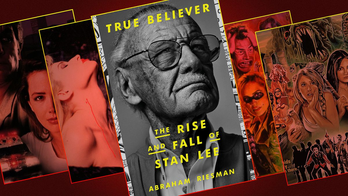 Graphic featuring the cover of a book about Tsan Lee and four posters from movies in which Stan Lee had a small cameo role.