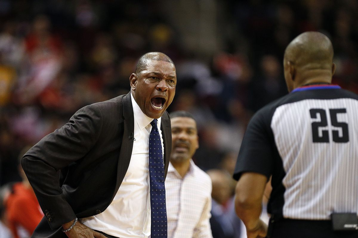 Head coach Doc Rivers of the Los Angeles Clippers is ejected by referee Tony Brothers during the fourth quarter against the Houston Rockets at Toyota Center on November 13, 2019 in Houston, Texas.