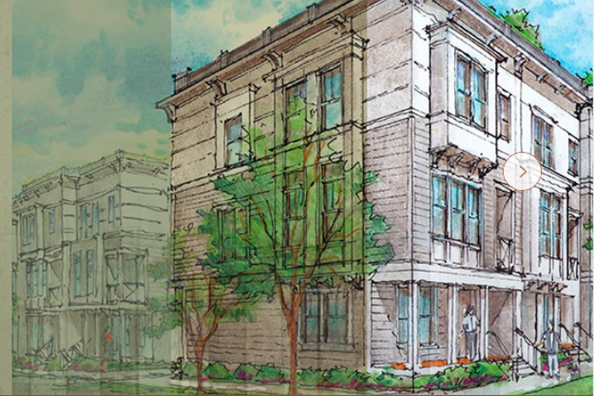 A rendering of townhouses by Thrive Homes in Reynoldstown Atlanta.