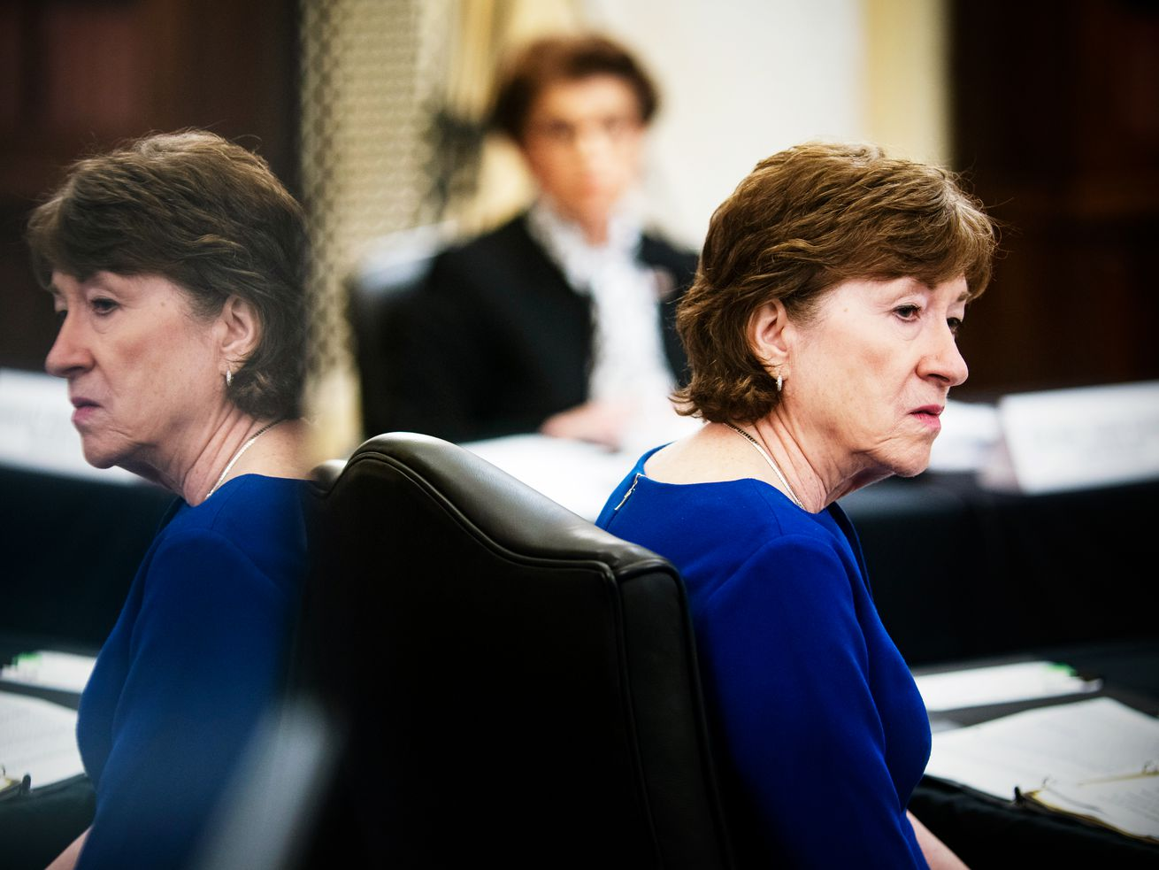 Sen. Susan Collins (R-ME) attends a committee hearing
