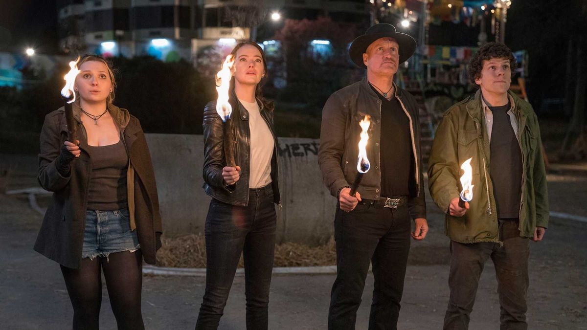 Little Rock, Wichita, Tallahassee, and Columbus holding torches in Zombieland: Double Tap.