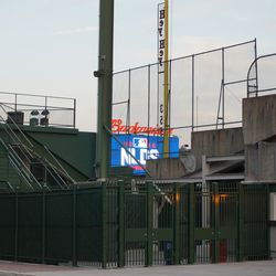 View of the right field videoboard, from Waveland Avenue