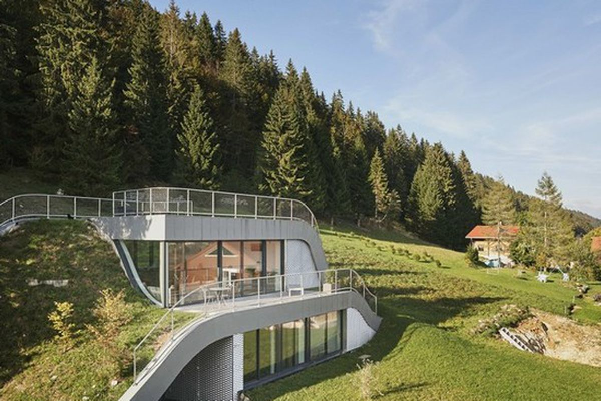 Earth Sheltered Home Floor Plans Swooping French Home Is Partially Built Into A Hillside