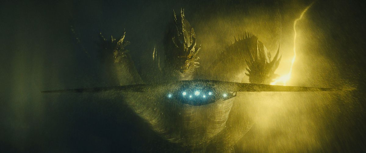 Ghidorah chasing a ship in Godzilla: King of the Monsters